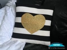 Black, White, and Gold Valentine's Day Pillow