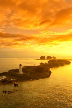 Beautiful Sunrise over the lighthouse in Nassau, #Bahamas