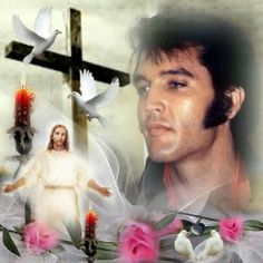 """( ☞ 2017 IN MEMORY OF ★ † ELVIS PRESLEY ★ 40 YEARS AGO (1977 - 2017) ★ Elvis & Jesus. """" Rock & roll ♫ pop ♫ rockabilly ♫ country ♫ blues ♫ gospel ♫ rhythm & blues ♫ """" ) ★ † ♪♫♪♪ Elvis Aaron Presley - Tuesday, January 08, 1935 - 5' 11¾"""" - Tupelo, Mississippi, USA. † Died; Tuesday, August 16, 1977 (aged of 42) Resting place Graceland, Memphis, Tennessee, USA. Cause of death: (cardiac arrhythmia)."""