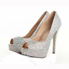 Shoespie - Shoespie Elegant Shining Sheepskin Upper Peep-toe Wedding Shoes - AdoreWe.com