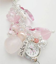 Pink/Purse Charm Watch/Pink and White/Watch Charm/ Zipper Pull/ Purse Watch Dangle/ Breast Cancer Awareness Watch/ Belt Loop Watch on Etsy, $26.50