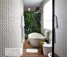 bathroom with vertical garden #decor #bathroom