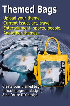 Themed Bags: Ladies bag fashioned with your theme - Current issue, doodle, graffiti, arts, travel, entertainment, and sports. Upload your theme & online DIY design. All bags are custom-made by hand. #theme #handbags #DIYdesign