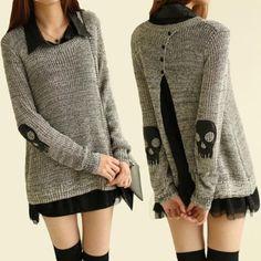 Black Cotton Blend Skull Skeleton Punk Long Sleeve Knitted Cardigan Sweater Tops | eBay