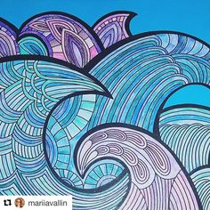 "Mental Images Coloring Books (@paivivesala_art) on Instagram: ""Beautiful and calm combination of turquoise and lilac by @mariiavallin 💙💜 Coloring card, and this…"""