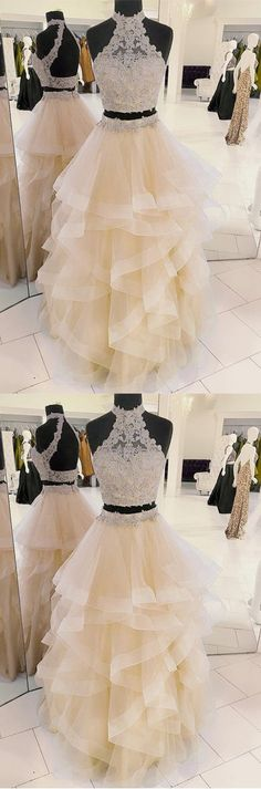 New Arrival Two-Piece Halter Champagne Tulle Long Prom/Evening