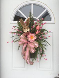 Easter bunny door hanger, Front door Easter wreaths, Spring door hanger, Bunny door hanger, Pink bunny door wreath by DecoWreathBoutique on Etsy