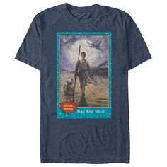 The Star Wars Rey and BB-8 Trading Card Heather Navy Blue T-Shirt is hotter than the sands of Jakku! A distressed print on the front of this awesome navy blue BB-8 and Rey shirt features a vintage-style trading card with Rey and BB-8 walking across t