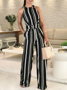 Shop Halter Striped Sleeveless Belted Jumpsuits – Discover sexy women fashion at IVRose Style:Fashion Pattern Type:Striped Material:Polyester Neckline:Halter Sleeve Style:Sleeveless Length:Regular Occasion:Casual Package (With Belt) Note: There might be Trend Fashion, Fashion Outfits, Womens Fashion, Fashion Fashion, Feminine Fashion, Ladies Fashion, Fashion Watches, Fashion Ideas, Jumpsuit Casual
