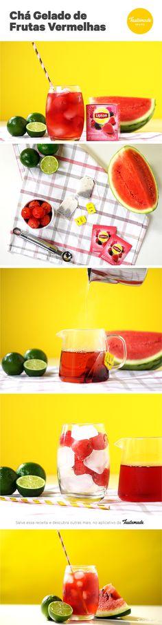 Quer uma bebida refrescante e saborosa? Experimente este mix de chá de frutas vermelhas + melancia e limão. Sucesso no verão!  Receita completa: https://www.tastemade.com.br/videos/cha-gelado-de-frutas-vermelhas