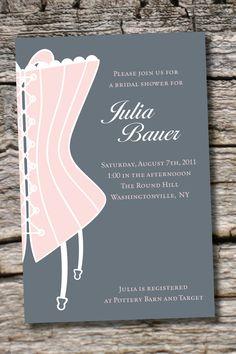 CLASSY CORSET Bridal Shower Invitation / Bachelorette Party Invitation - You Print. $15.00, via Etsy.