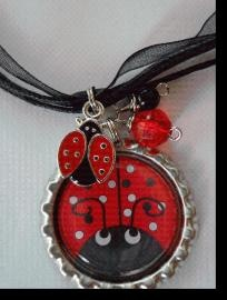 Ladybug Bottle Cap Necklace