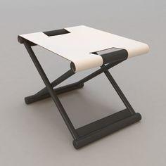 … Ottoman Stool, Bench Stool, Sofa Chair, Folding Furniture, Steel Furniture, Cool Furniture, Christian Liaigre, Folding Seat, Blue Dining Room Chairs