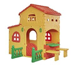 Outdoor Kids Playhouse Country Estate Backyard Clubhouse With Picnic Table Outside Playhouse, Garden Playhouse, Build A Playhouse, Playhouse Outdoor, Outdoor Play, Big Houses, Play Houses, Childrens Playhouse, Toy House