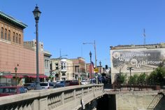 The downtown Watertown bridge over the Rock River looking east by northeast.