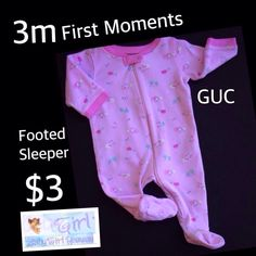 """3m First Moments Baby Girl  """"Little Lamb """" Cotten Zip GUC Footed Sleeper"""