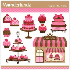 ZA16 Pink Cake Shop - digital clip art - cake, pink, polkadot, boutique, cupcake, tower, chic, cute, strawberry
