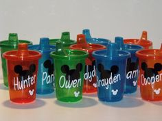 personalized Mickey Mouse or Minnie Mouse Sippy cups, spill proof cups, kids, birthday favor, tumbler, cup with lid, Disney on Etsy, $5.00