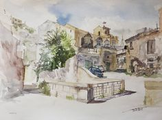 Scicli, 36x48cm, 2008 www.minhdam.com #architecture #watercolor #watercolour #art #artist #painting #sicily #italy