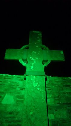 Green Donegal, oldest and tallest high cross in Ireland, now green for St. Donegal, North West, Ireland, Day, Green, Irish