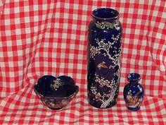 Lot of 3 Cobalt Blue Asian Theme - Dogwood - Peacock Vase, Bowl & Mini Bud Vase Peacock Blue, Porcelain Ceramics, Wedgwood, Bud Vases, Cobalt Blue, Asian, Mini, Flower Vases, Porcelain