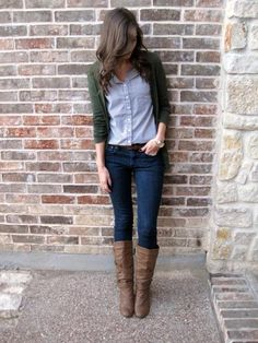 colored cardigan / striped button-down / denim / boots / fall outfit // member Caitlin of Greater Than Rubies