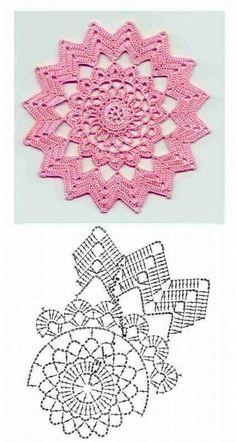 New Crochet Granny Square Chart Yarns Ideas Motif Mandala Crochet, Crochet Doily Diagram, Crochet Circles, Crochet Flower Patterns, Crochet Squares, Crochet Chart, Thread Crochet, Crochet Granny, Crochet Flowers