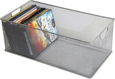 Ybm Home Mesh Storage DVD Box, Silver Mesh Great for School Home or Office Supplies, Books , Dvd's Computer Discs and More It is Stackable From the original makers of mesh Handles make these bins easy to remove from shelves Great for general storage