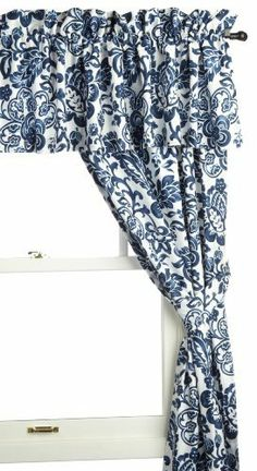 """Tommy Bahama Colonial Hill 5-Piece Window Set by Tommy Bahama. Save 50 Off!. $99.99. 2 Tiebacks. Pole top lined pair of drapes, pole top lined valance, 2 tiebacks. 2 Drapes 84 by 42-Inch, lined. Valance 86 by 18-Inch. Tommy Bahama Colonial Hill offers a fresh approach to casual living. Indulge in a calm, easy lifestyle with a blue and white crisp paisley print comforter and coordinating drapes. Enjoy the Tommy Bahama style """"life is one long weekend"""""""