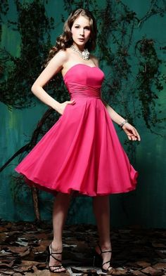 A-line Sweetheart Sleeveless Red Tea-Length Bridesmaid Dresses with Criss-cross FMAU1404P916929