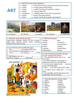 This worksheet presents new vocabulary items and practises them in a stimulating and balanced variety of tasks.It is vocabulary guide and drills. English Class, English Lessons, Teaching English, Learn English, Vocabulary Games, Vocabulary Worksheets, English Vocabulary, English Activities, Art Activities For Kids