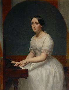 """somanyhumanbeings:  """"William-Adolphe Bouguereau (attribué à), Portrait de Jeune Fille au Piano  """""""