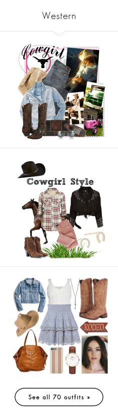 """""""Western"""" by black-prism ❤ liked on Polyvore featuring Heidi Klein, 7 For All Mankind, Madewell, AllSaints, Ralph Lauren Blue Label, Stetson, Ray-Ban, aviator sunglasses, wide brim hats and wide belts"""