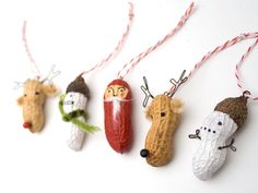 Christmas Garland - funny painted peanut characters