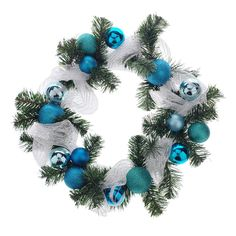 Easy and quick way to decorate your home or office space. This Styrofoam wreath comes assembled with mesh ribbon, ornaments balls, and artificial pine tree branches. Mesh Ribbon, Pine Tree, Tree Branches, Decorating Your Home, Balls, Christmas Wreaths, 21st, Turquoise, Ornaments