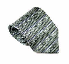 """Danggi Man Necktie Men's 100% Silk 4"""" Wide 58"""" Long Gray Green Black Tie Geo #DanggiMan #NecktieNeckTie"""