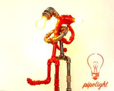 HugLight-Robot lamp-Steampunk Furniture-Industrial Lightning-Desk Accessories-Design-Halloween Gift-Table lamp-Sculpture
