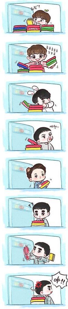 yahaha pada rakus nih Kaisoo, Kyungsoo, Chanyeol, Exo Cartoon, Cute Cartoon, 5 Years With Exo, Exo Anime, Exo Fan Art, Artist Logo