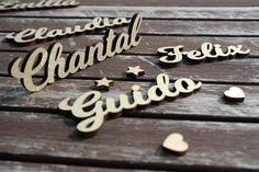 10 Tischkarten Platzkarten Namensschilder Holz Hochzeit Geburtstag Festanlass