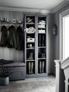 Grey boot room with open shelves, pegs for coats and a bench for perching on. Grey boot room with open shelves, pegs for coats and a bench for perching on.,~Interior~ Grey boot room with. Boot Room Utility, Utility Room Ideas, Hallway Storage, Storage Shelves, Hall Storage Ideas, Cloakroom Storage, Cloakroom Ideas, Utility Shelves, Hallway Closet