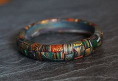 Boho Cuff bracelet Polymer clay bracelet Cuff bracelet for