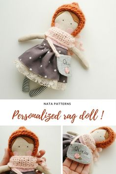 Personalized rag doll Personalized girl gifts Personalized toy Baby gifts Miniature doll Handmade cloth doll Dress up rag doll Heirloom doll /кукла ручной работы, миниатюрная кукла, кукла из ткани, персонализированная кукла