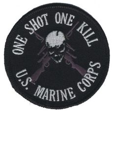 One Shot One Kill - US Marine Corps Patch Collectible Iron-On High Quality Stitching