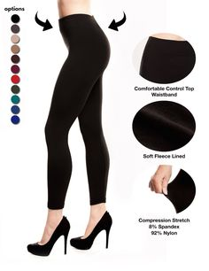 1c0029b07 Fleece Leggings Lined for Women Warm Thick Spandex Tights by Stylish Fit  Body - BLACK Leggings