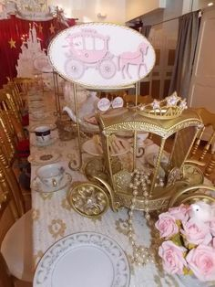 Pink and Gold themed Princess birthday party. Love the colors and the carriage!