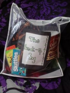 THE BREAK UP BAG. You make it, and give it to a friend who just went through a break up. You put four boxes of their favorite candy in it, their favorite 2 liter pop, a blanket, a popcorn bucket, 2 movies (one comedy, one romantic), pizza hut certificate, kleenex box of tissues, and something of your own personal touch! :) . Had the idea, had to put it on pinterest for others to see :) .