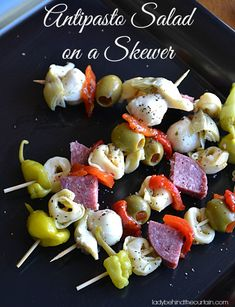 Antipasto Salad on a Skewer Recipe ~ These skewers are full of marinated flavor and would also be a wonderful appetizer for your Holiday or New Year's Eve party.