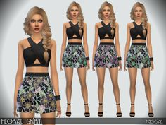 Floral Skirt by Paogae at TSR via Sims 4 Updates