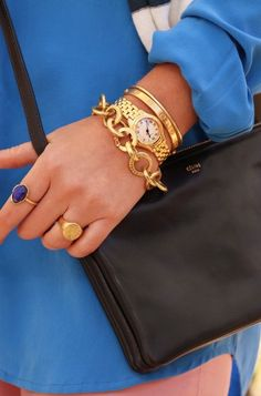 signet ring, lapis ring, gold watch, gold bangles