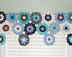 Flower Valance Flower Curtains Crochet Curtains Kitchen